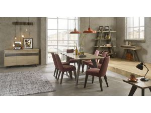 Bentley Designs Cadell Aged Oak 6 Seat Dining Table & 6 Mulberry Chairs