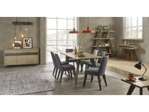 Bentley Designs Cadell Aged Oak 6 Seat Dining Table & 6 Slate Blue Chairs