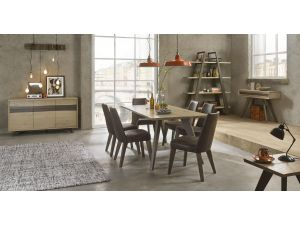 Bentley Designs Cadell Aged Oak 6 Seat Dining Table & 6 Distressed Chairs