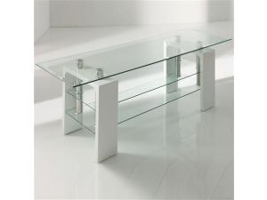 Calico White Glass TV Stand