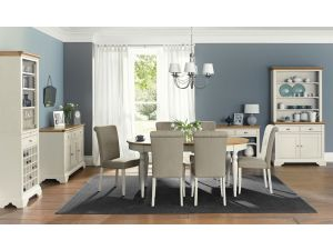 Bentley Designs Hampstead Soft Grey and Oak 6-8 Dining Table With 8 Fabric Chairs