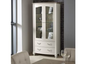 Bentley Designs Montreux Grey Washed Oak And Soft Grey Display Cabinet