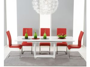 Beckley 160cm Solid Wood Dining Table With 6 Malibu Red Leather Chairs