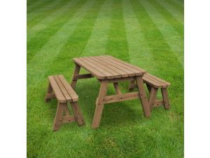 Rutland Oakham 3ft Rustic Brown Picnic Table And Bench Set