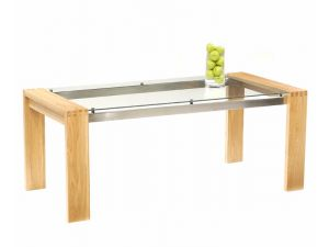 Roma Solid Oak Dining Table With Chrome Struts and Glass Top 150cm