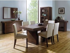 Bentley Designs Akita Walnut Panel Dining Table + 6 Square Back Ivory Chairs