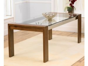 Roma Solid Walnut Dining Table With Chrome Struts and Glass Top
