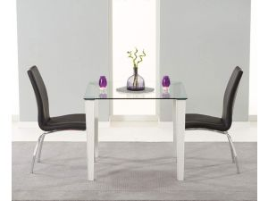 Melrose 90cm Glass Dining Table With 2 Carsen Leather Chairs