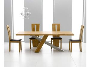 Montana 195cm Solid Oak Dining Table + 6 Arizona Slatted Chair Dining Set
