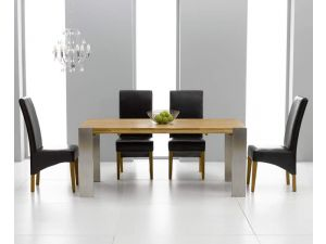 Knightsbridge Solid Oak Extending Dining Table + 8 Roma Chair Dining Set