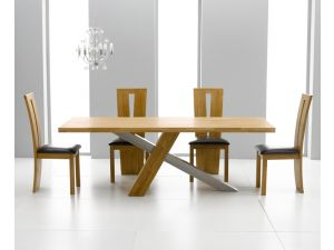 Montana 225cm Solid Oak Dining Table + 8 Arizona Slatted Chair Dining Set