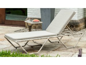 Alexander Rose Ocean Pearl Rattan Stacking Sunbed With Cushion