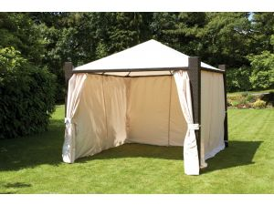Royalcraft Cannes Brown 3m Square Deluxe Gazebo with Ivory Side Curtains