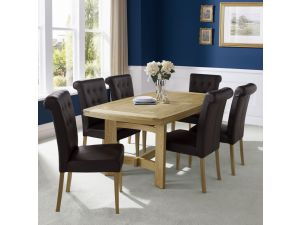 Bentley Designs Turner 6-8 Ext. Table And 8 Brown Leather Uph. Chairs