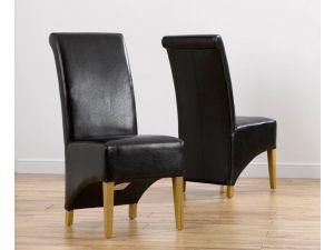 Barcelona Brown Leather Dining Chairs With Solid Oak Legs - Pair