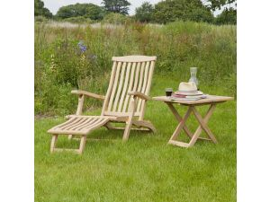 Alexander Rose Roble Steamer Chair With Occasional Table Set