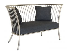 Alexander Rose Cordial Straight Lounge Stainless Steel Arm Sofa