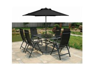 Royalcraft Sorrento 6 Seat Black Recliner Set With Free Parasol