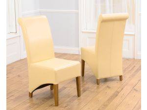 Barcelona Cream Leather Dining Chairs With Solid Oak Legs - Pair