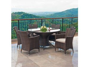 Alexander Rose Ocean Wave Table With 6 Wave Armchairs With Cushions