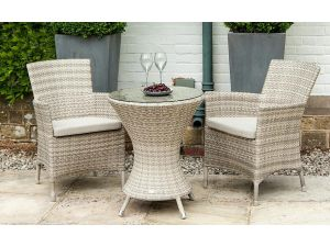 Alexander Rose Ocean Pearl Wave Rattan 2 Seater Bistro Set with Armchairs