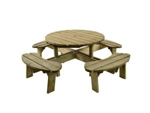 Aberdeen 8 Seater Round Pine Picnic Table