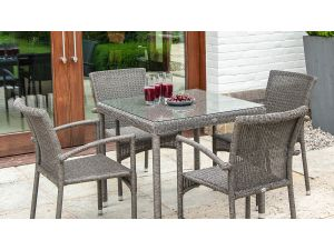 Alexander Rose Monte Carlo Charcoal Rattan 4 Seater Dining Set