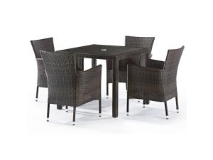 LB Outdoor Leisure Alonso 4 Seater Rattan Dining Set With Inlaid Glass Top