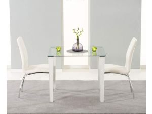 Melrose 90cm Glass Dining Table With 2 Carsen White Leather Chairs