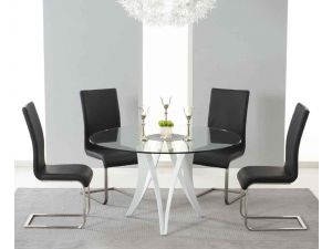 Bellevue 130cm Round Glass Dining Table With 4 Malibu Black Leather Chairs