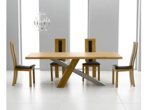 Montana 195cm Solid Oak Dining Table + 8 Havana Padded Back Chairs