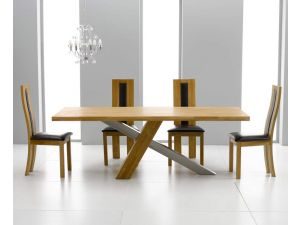 Montana 180cm Solid Oak Dining Table + 4 Havana Padded Back Chairs