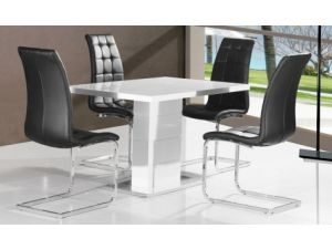 Ice White Gloss Dining Table With 4 Enzo Black Faux Leather Chairs