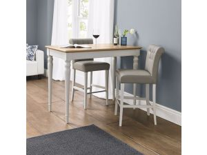 Bentley Designs Hampstead Soft Grey & Pale Oak Bar Table & 2 Upholstered Bar Stools