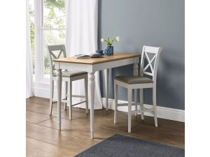Bentley Designs Hampstead Soft Grey & Pale Oak Bar Table & 2 X Back Bar Stools