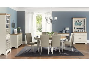 Bentley Designs Hampstead Soft Grey and Oak 4-6 Dining Table With 6 Fabric Chairs