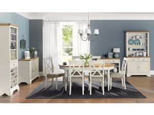Bentley Designs Hampstead Soft Grey and Oak 4-6 Dining Table With 6 X Back Fabric Chairs