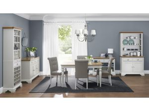 Bentley Designs Hampstead Soft Grey & Oak 4-6 Dining Table & 6 Pebble Grey Fabric Chairs