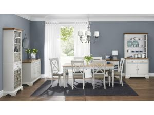 Bentley Designs Hampstead Soft Grey & Oak 4-6 Dining Table & 6 X Back Grey Fabric Chairs