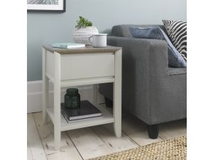Bentley Designs Bergen Grey Washed Oak & Soft Grey Lamp Table With Drawer