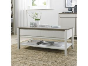 Bentley Designs Bergen Grey Washed Oak & Soft Grey Coffee Table With Drawer