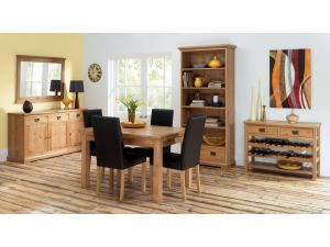 Bentley Designs Provence Oak 4-6 Leaf Dining Table & 4 Brown Chairs