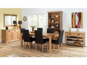 Bentley Designs Provence Oak 4-6 Leaf Dining Table & 6 Brown Chairs