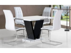Zara White Dining Table With 4 Enzo Black Faux Leather Chairs