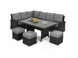 Maze Kingston 8 Seat Rattan Corner Dining Set - Grey