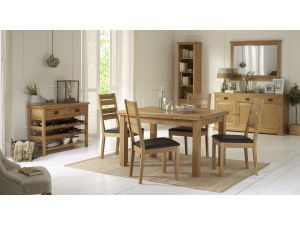 Bentley Designs Provence Oak 2-4 Draw Leaf Dining Table & 4 Slatted Brown Chairs
