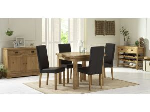 Bentley Designs Provence Oak 2-4 Draw Leaf Dining Table & 4 Brown Chairs