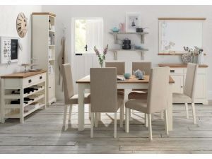 Bentley Designs Provence Two Tone 4-6 Draw Leaf Dining Table & 4 Sand Fabric Chairs