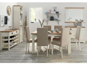 Bentley Designs Provence Two Tone 4-6 Draw Leaf Dining Table & 6 Sand Fabric Chairs