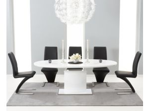 Seville 160 MDF High Gloss Extending Dining Table With 6 Hereford Black Chairs